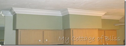 This Is One Wall In The Kitchen I Love Way Crown Looks On All Of These Inside And Outside Corners Soffit Against Darker Sage Paint