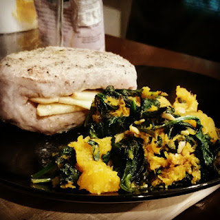 Apple Stuffed Pork with Butternut Squash and Spinach