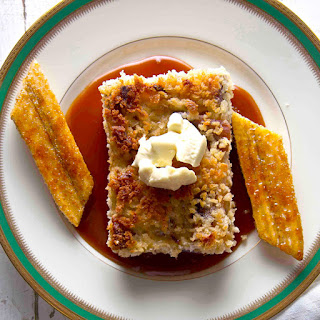 White Chocolate Bread Pudding with Bananas and Rum Sauce.