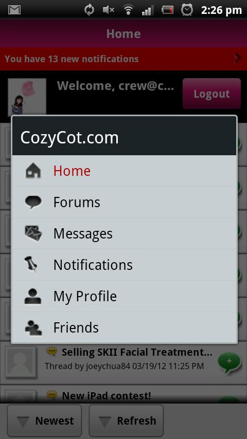 CozyCot.com Forums - screenshot