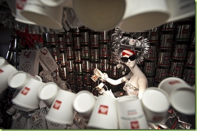 The illy caffè holiday window display for Barneys New York.
