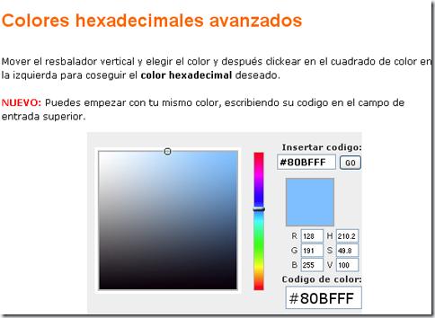 Interfaz de web Códigos de colores hexadecimales html