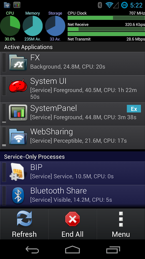 SystemPanel App / Task Manager- screenshot