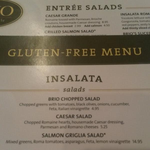 Brio's gluten free menu as of 4/25/2014