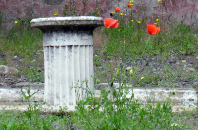 Ruins of a column in Pompeii Italy with red flowers in the background
