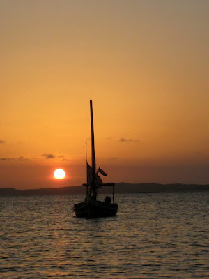Sunset with a dhow in Lamu Kenya