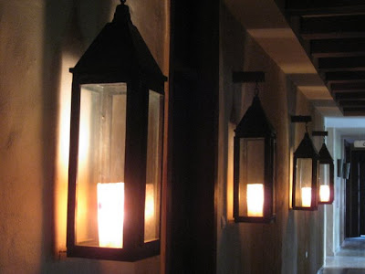 Lanterns lining the walls at the Evason Ma'in hotel in Jordan