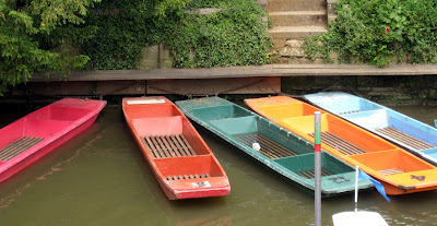 Punts on the Isis river in Oxford