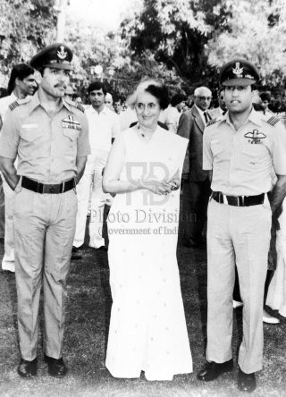 Then Prime minister of India, Mrs. Indira Gandhi with Indian Cosmonaut Squadron Leader Rakesh Sharma and his backup Wing Commander Ravish Malhotra