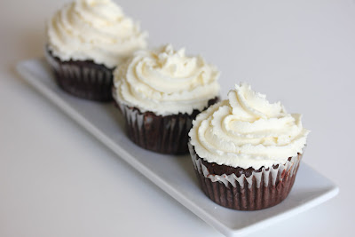 photo of three cupcakes on a plate