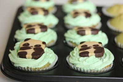 close-up photo of panda cupcakes