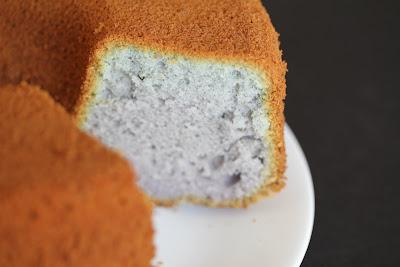 close-up photo of a Ube (Purple Yam) Chiffon Cake