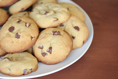 close-up photo of a plate soft chocolate chip cookies