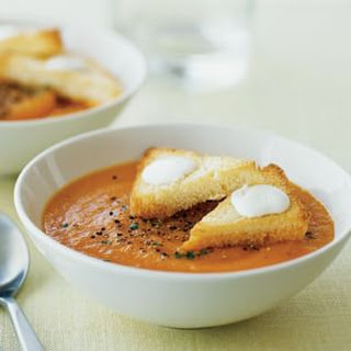 Carrot Soup with Crème Fraîche Toasts