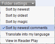 Google Reader sort by newest comments