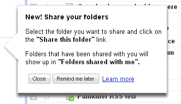 Google Docs share a folder pop up