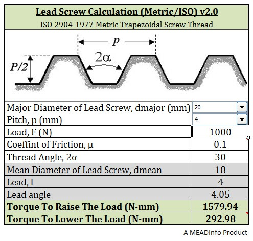 Download Lead Screw Calculator