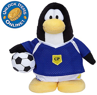 Blue Soccer Player Penguin Plush Toy
