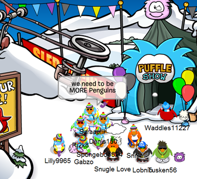 ORANGE Puffle Party at Ski Lift :)