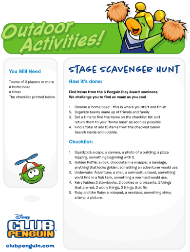 Stage Scavenger Hunt :)