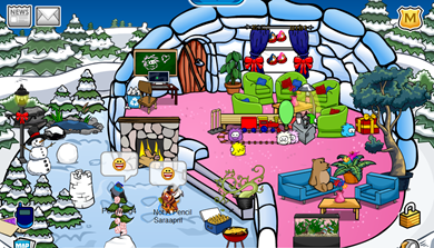 Saraapril's igloo in Club Penguin