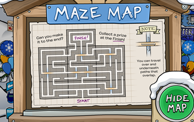 Maze Map in Club Penguin
