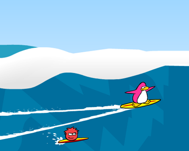 Saraapril surfing TOGETHER with her RED Puffle Chillie :)