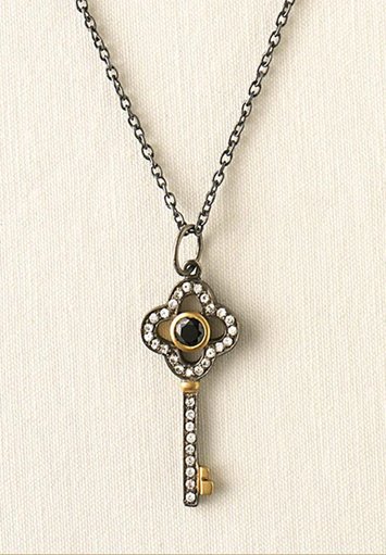fall clover key necklace
