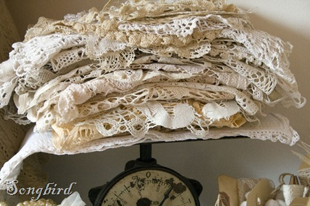 Doilies on vintage scale