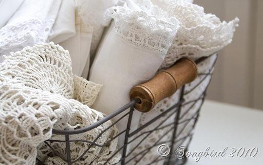 Iron Basket with White Linens 4
