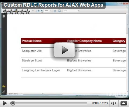 Custom RDLC Reports for AJAX Web Apps | Code On Time