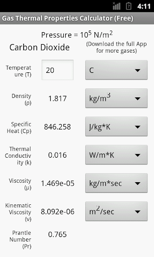 Gas Thermal Properties Free