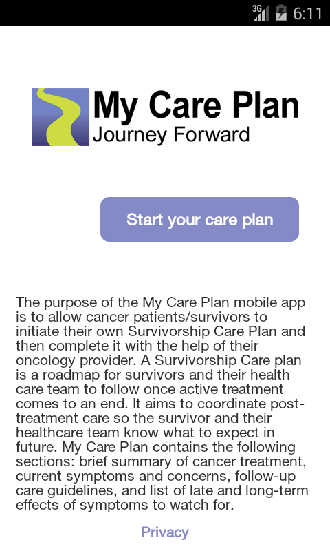 My Care Plan (cancer survivor)- screenshot