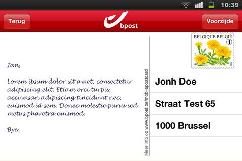 Screenshots for bpost Mobile Postcard for Android
