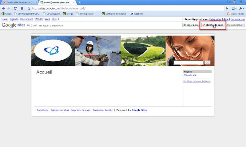 Pour modifier votre page d accueil, cliquez sur le bouton Modifier la page. db3a010bcbb1
