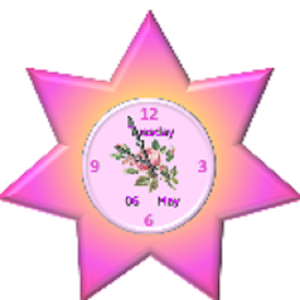 Lovely Pink Star Clock Widget