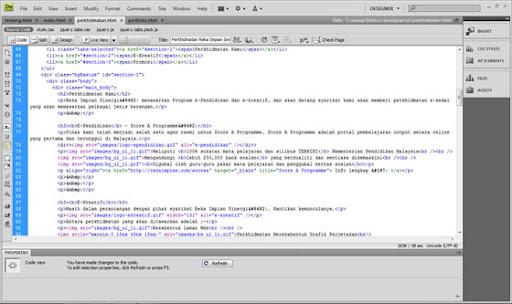 belajar buat web coding dreamweaver