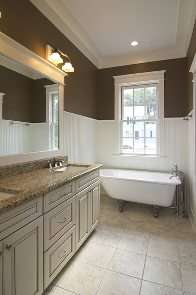 bathroom, bath, room, clawfoot, tub, bathtub, white, granite, wainscot, plumbing, window, inside, interior, remodel, cabinet, elegant, expensive, beautiful, clean, immaculate, affluent, tile, floor, crown, molding, hardware, mirror, fixture, light, beadboard