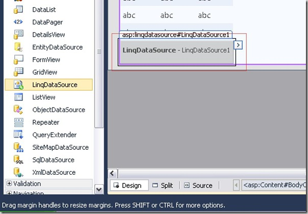 Creating A Linq Data Source from ToolBox