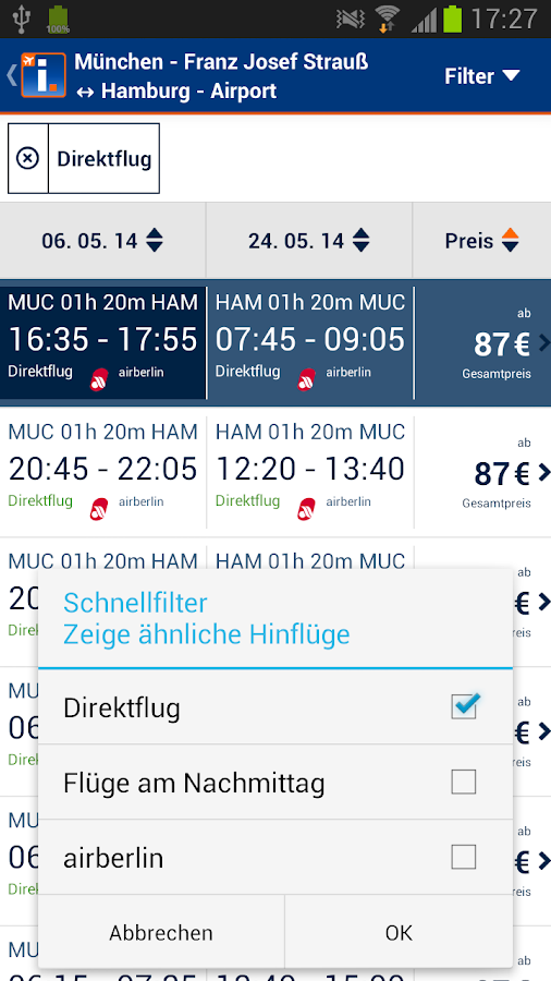 idealo Flugsuche - screenshot