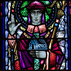 Harry Clarke - zz The Consecration of St. Mel, Bishop of Longford, by St. Patrick.jpg