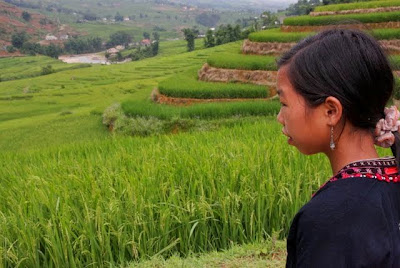 Hmong girl looks out at Sapa Valley