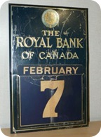 Vintage Royal Bank of Canada metal calendar