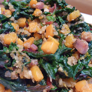 """Butternut Squash """"Rouille"""" with Swiss Chard."""