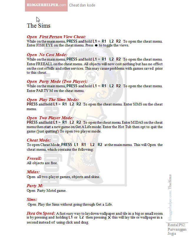 Cheat codes for sims bustin out on playstation 2.