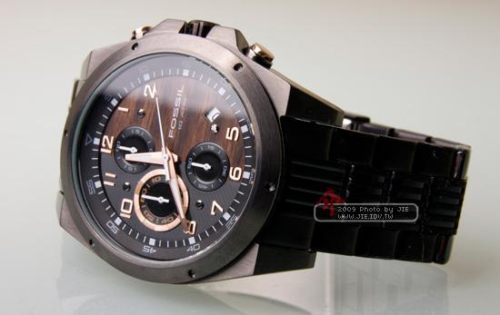 FOSSIL_雙星質感三眼計時腕錶(黑)
