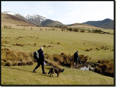 Striding towards Barkbeth with Skiddaw in the distance