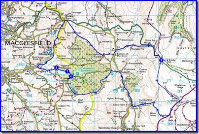 The 14.5 mile route, with about 800 metres ascent, taking just over 2 hours on this occasion