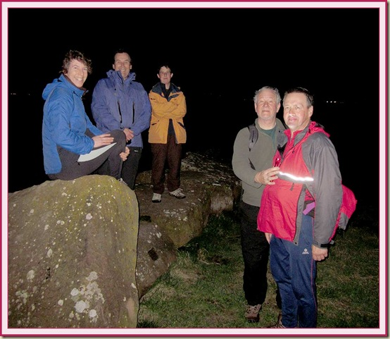 Sue, Andrew, Judith  and two Johns, after dusk at Denhall Quay