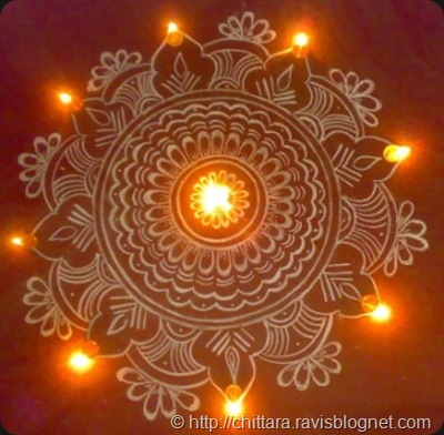 Diwali Rangoli With Lights Chittara Rangoli Pattern